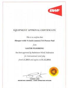 世界羽联(BWF)认证证书