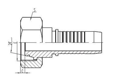 公制内螺纹24°外锥面带O形圈密封轻系列 [20411-T]