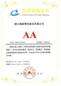 信用等级证书AA