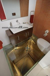 不怕 电梯井上的洗手间