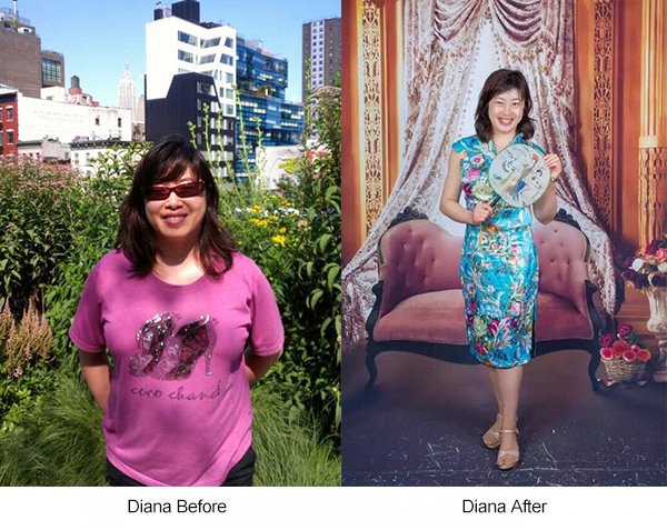Diana before and after lose weight